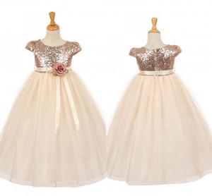 Реальные изображения Роза шампанское девушки цветка платья для свадеб драгоценный камень блестки Cap рукавом скромный Первое причастие бальные платья для детей подростков