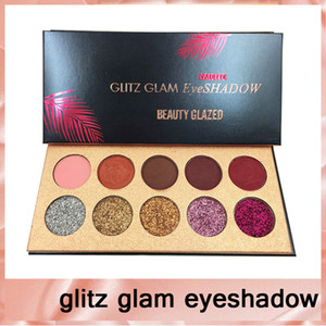 Beleza Glazed Glitz Glam 10 Cores Glitter eyeshadow Lantejoulas Paleta Sombra Highlighter Shimmer Maquiagem Beleza Marca DHL frete grátis66222