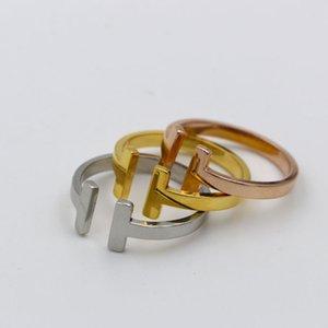 TYME Aço Inoxidável duplo T falar todo o novo anel de código de moda jóias anel de dedo de titânio de aço casal anel acessórios