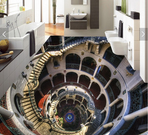 3d pvc plancher personnalisé photo papier peint sticker mural spirale escalier couloir décoration peinture image 3d mur salle murales papier peint