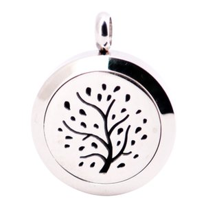 Trees of Life 25mm Diffuser 316 Stainless Steel Necklace Pendant Aroma Locket Essential Oil Diffuser Lockets Free 100pcs Felt Pads As Gift