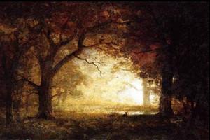 Paesaggio con impressionismo incorniciato Foresta alba, spedizione gratuita, pittura a olio su tela dipinta a mano pura su tela, multi dimensioni