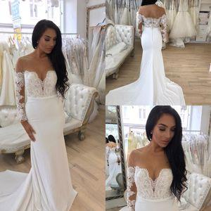 Lace Long Sleeve Wedding Gowns 2019 Illusion Scoop Sheath Wedding Dresses Open Back Wedding Gowns hochzeitskleid
