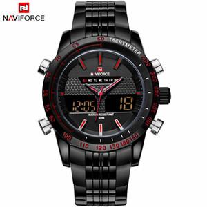 NAVIFORCE Moda Homens Relógios de Aço Inoxidável Relógio de Quartzo Dos Homens de Quartzo Analógico Digital LED Watch Sports Relógios de Pulso Militar Transporte da gota