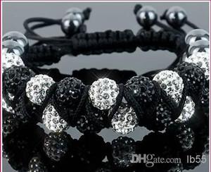 pas cher! New Style 10mm à deux rangs plus chaud blanc pas cher boule disco perles Bangles cristal Shamballa Bracelet VSD bijoux de Noël i3535