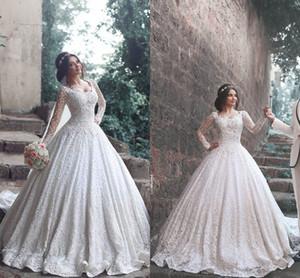 2020 Роскошный Новый конструктор линия Кружева Свадебные платья с длинными рукавами Scoop Свадебные платья для женщин Бесплатная доставка