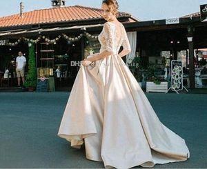 Великолепные французские кружева Половина рукава свадебные платья 2018 иллюзия лиф Overskirts длинные Стивен Халил реальные фотографии свадебные платья бесплатно вуаль