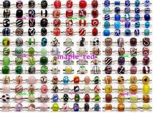 100 pcs mixtes 925 Sivler core Perles de verre de Murano pour la fabrication de bijoux en vrac Lampwork Charms DIY perles pour Bracelet en gros en vrac faible prix