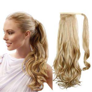 """Toptan-midilli kuyrukları 22"""" Kurdele at kuyruğu saç uzatma yılında Sentetik Saç Uzun Cruly Klip kıvırcık postiş Sahte saç parçaları Ponytails"""