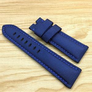 22mm / 24mm / 26mm 120/75mm de boa qualidade de luxo moda azul lona de couro de bezerro assista banda strap para pam assistir