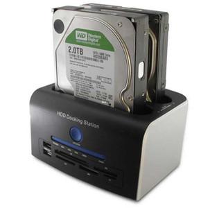 Freeshipping 2.5 Disco rigido SATA da 3.5 pollici Drive All in 1 Docking station HDD USB 3.0 Clone Lettore di schede HUB USB
