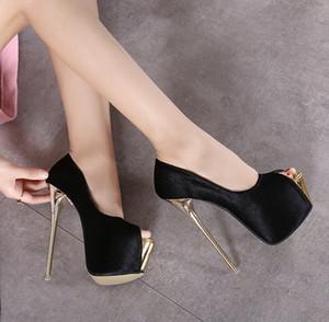 16cm ultra yüksek topuklu burnu ayak platformu seksi kadın balo elbisesi düğün ayakkabı 34 40 için boyutu Nightclub gibi pompalar