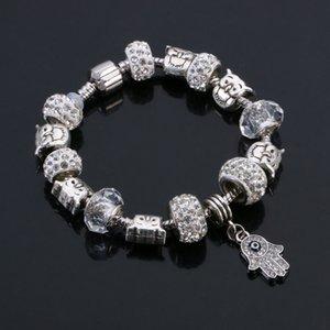 Aço Inoxidável Animal Jóias Chapeamento de Prata Contas de Coruja de Cristal De Pedra Natural Talão Pulseira Encantos Do Casamento Das Mulheres Jóias