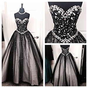 New Black and White Tulle Ball Gown Evening Dresses 2020 Crystal Beaded Rhinestones A Line Lace Up Prom Dresses Runway Red Carpet Dresses