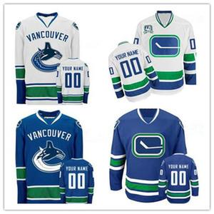 Personnalisé Vancouver Canucks Hommes Femmes Jeunesse Bleu Blanc Troisième Hockey sur Glace Personnalisé N'importe quel Nom N'importe quel Nombre Couture Maillots Taille S-4XL