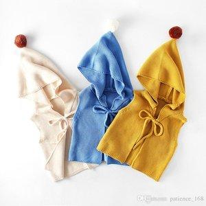 INS 3 Farben neue Arten Normallackmädchenjunge strickte mit Kapuze Westewarme Qualitätsbaumwollherbstkindweste allgleiches Haarballweste
