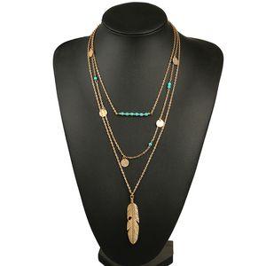горячие продажи женщин ожерелье перо заявление ожерелья подвески старинные ювелирные изделия Multi слои длинное ожерелье женщины NL579