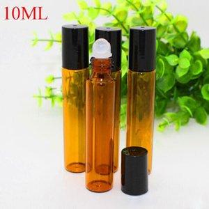 10ml (1 / 3OZ) Aromatherapie Glas ätherisches Öl Flaschen 10 ml Bernstein Parfüm-Flaschen mit Glasrolle auf Rollerball für Make-up Hautpflege
