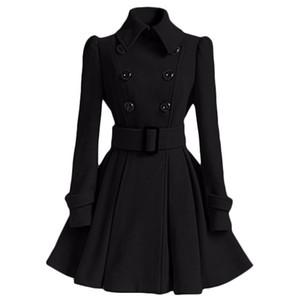 Al por mayor-Abrigo de invierno Las mujeres de Europa cinturón de hebilla Turndown Collar Trench Coat Mujer doble botonadura Escudo Casual manga larga vestido Abrigos XXL