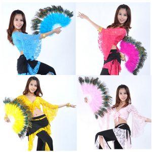Al por mayor-1pcs / lot envío gratis accesorio de la danza del vientre egipcio hecho a mano de plumas de pavo real ventilador de danza del vientre herramienta