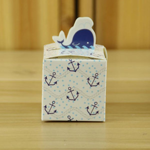Lindo azul delfín caja de dulces caja del favor de la bolsa de papel caja del favor de la caja para la boda del cumpleaños regalo de la demostración del bebé