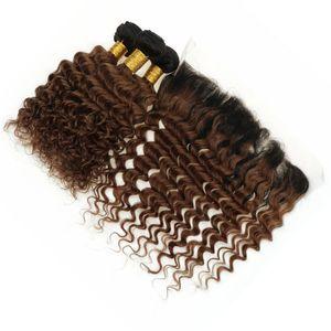 حزم الشعر موجة عميقة بيرو أومبير مع الرباط أمامي إغلاق 1B 30 أوبورن أومبير مجعد الشعر البشري ينسج مع أمامي