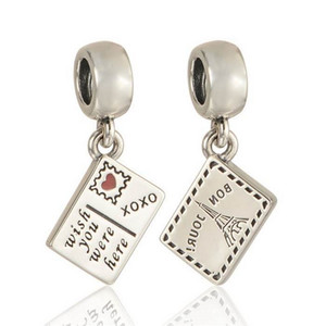 Travel Postcard Charm Pendant 100% 925 Sterling Silver Dangle Eiffel Tower Charms Beads DIY Brand Logo Bracelet Jewelry Accessories HB536
