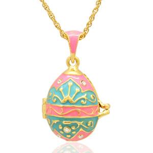 Tag Medaillon mit Stil Ei Farben Handcrafted Halskette Russische Anhänger für Faberge Ostern Emaille Crown Tforc