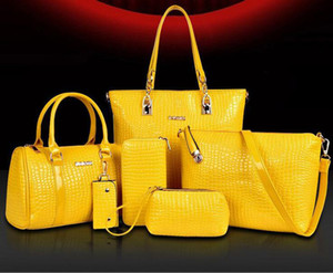 2017 여성을위한 새로운 도매 가방 유명 브랜드 디자이너 가방 6 개 세트 래쉬 패키지 어깨 토트 지갑 메이크업 가방 악어 무늬 핸드백