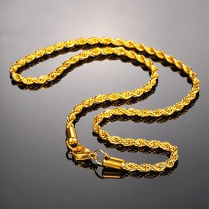 Ожерелья из нержавеющей стали Женщины Мужчины цепи ожерелья Twisted Rope цепи цвета золота Заявление ожерелье изящных ювелирных изделий 4мм