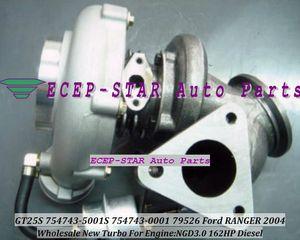 NOVO GT25S 754743-5001S 754743-0001 754743 79526 turbocompressor Turbine Turbo apto para Ford Ranger 2004 NGD3.0 162HP