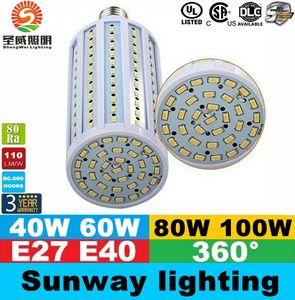 E40 B22 E27 Led Corn Lights SMD 5730 High Power 40W 50W 60W 80W Led Light Bulbs 360 Angle AC 85-265V ce ul