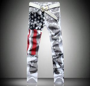 2016 Hombres Pantalones Vaqueros Delgados Bandera Americana Jeans Impresos Mens Graffiti Imprimir Casual Denim Pantalones Plus Size29-42