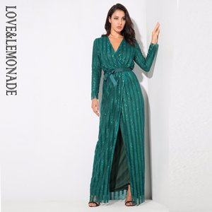 Wholesale- Love&Lemonade Sexy Stripes Cross V Collar Body Maxi Dresses Green/Silver/Gold/Black/Red LM0266
