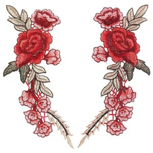 2pcs 아름 다운 장미 꽃 꽃 칼라 봉합 패치 applique 배지 수 놓은 흉상 드레스 수 제 공예 장식 패브릭 스티커