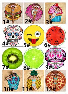 12Designs Round Beach Towel Pizza Hamburger Skull Ice Cream Strawberry Smiley Emoji Pineapple Watermelon Shower Towel Blanket