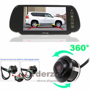 360 ° Rotateable Car Front Side Rear View Estacionamento Câmera Reversa HD + 7 polegadas LCD Monitor Espelho Kit