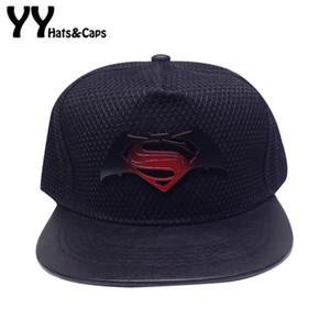2016 새로운 뼈 배트맨 VS 수퍼맨 스냅 백 모자 슈퍼 영웅 메쉬 야구 힙합 성인 남자 여름 모자 스냅 밧줄 모자 YY60506