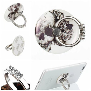 360 Grado de dedo del anillo de diamante de Bling móvil del sostenedor del soporte del teléfono para el iPhone X 8 7 6S Nota 8 de la tableta de mármol cráneo del metal del anillo del Rhinestone de flor