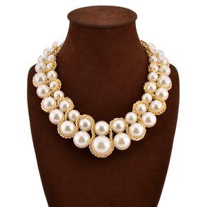 Mode Halskette für Frauen 2016 Vintage Kragen Goldkette Große Doppel Perle Kristall Chokerhalsketten Anhänger Bijoux