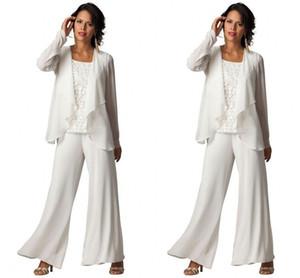 Yeni Moda Ucuz Zarif Şifon Artı Boyutu Üç Parçalı Katmanlı Ruffled Pantolon Suits kadın Uzun Kollu Örgün Akşam Anne Pantolon Suits
