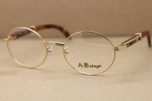 legno d'oro montature per occhiali rotondi 7550178 occhiali in metallo per occhiali cornici donne femminili struttura in metallo oro argento Dimensioni C Decorazione: 55-22-135mm
