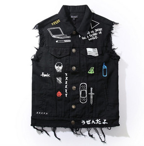 Alta Qualidade Nova Moda Homens Da Motocicleta Colete Colete Do Punk Hip Hop Jeans Mens Jaqueta Colete Denim Designer Gothic Coat Sem Mangas