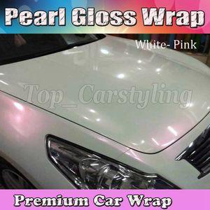 Pearlecsent Chameleon Glossy White / Pink Wrap en vinyle avec sortie d'air Pearl Gloss GOLD Pour la voiture wrap style Taille du film: 1.52x20m