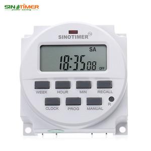 SINOTIMER 220 - 240V AC / 12V DC Interrupteur de minuterie programmable 7 jours avec relais listé UL et fonction de compte à rebours HOT + TB