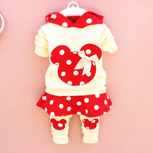 2015 cute baby girls outfits babies clothes dots bow spring newborn baby 2pcs set children cotton suit hooded+legging skirts child outwear
