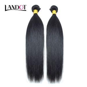 2 Demetleri Perulu Malezya Hint Brezilyalı Bakire Insan Saçı Örgü Ipeksi Düz Ucuz Işlenmemiş 8A Remy Saç Uzantıları Doğal Siyah