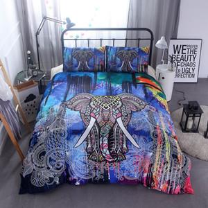 En Kaliteli Reaktif Baskı Tasarımcısı Fil Yatak Takımları Mandala Yorgan Nevresim Set Yatak Örtüsü Yastık Shams Bohemian Çarşaf