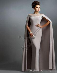2019 Mais Novo de Qualidade Personalizado Vestidos de Noite Bainha Elie Saab Cinza Com Cape Ruffles Festa Sexy Vestidos de Baile Rendas Apliques de Slim Vestidos