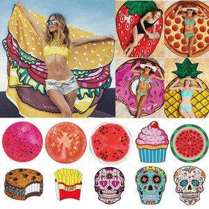 Toallas de playa más nuevas Toalla pizza Hamburguesa Dona Gasa Moda colorida Toallas grandes y redondas Mandala india Toallas de playa